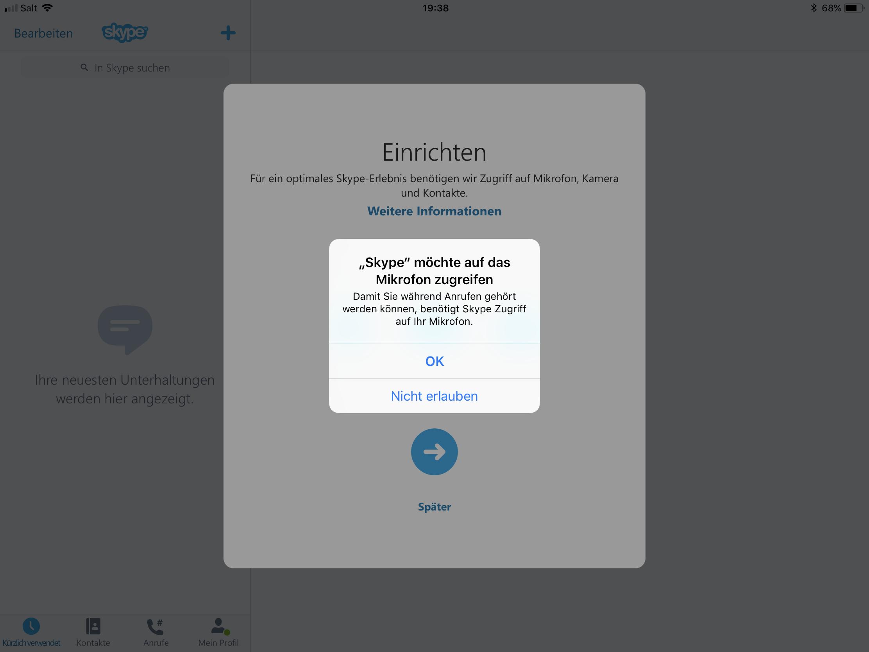 Skype Startbildschirm