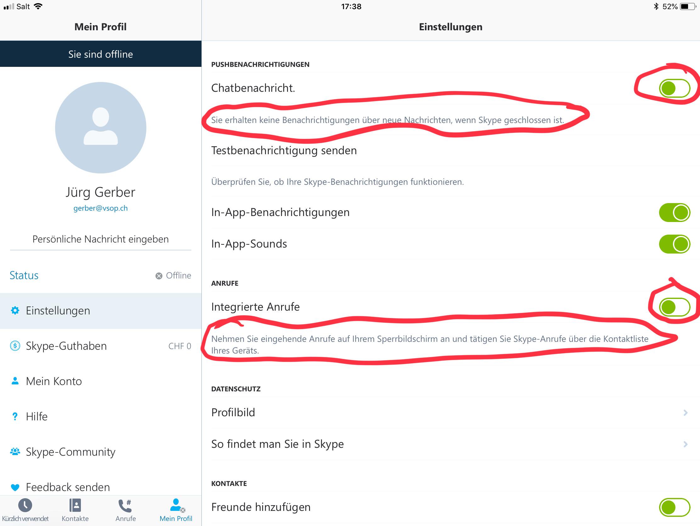 Skype individuell einstellen
