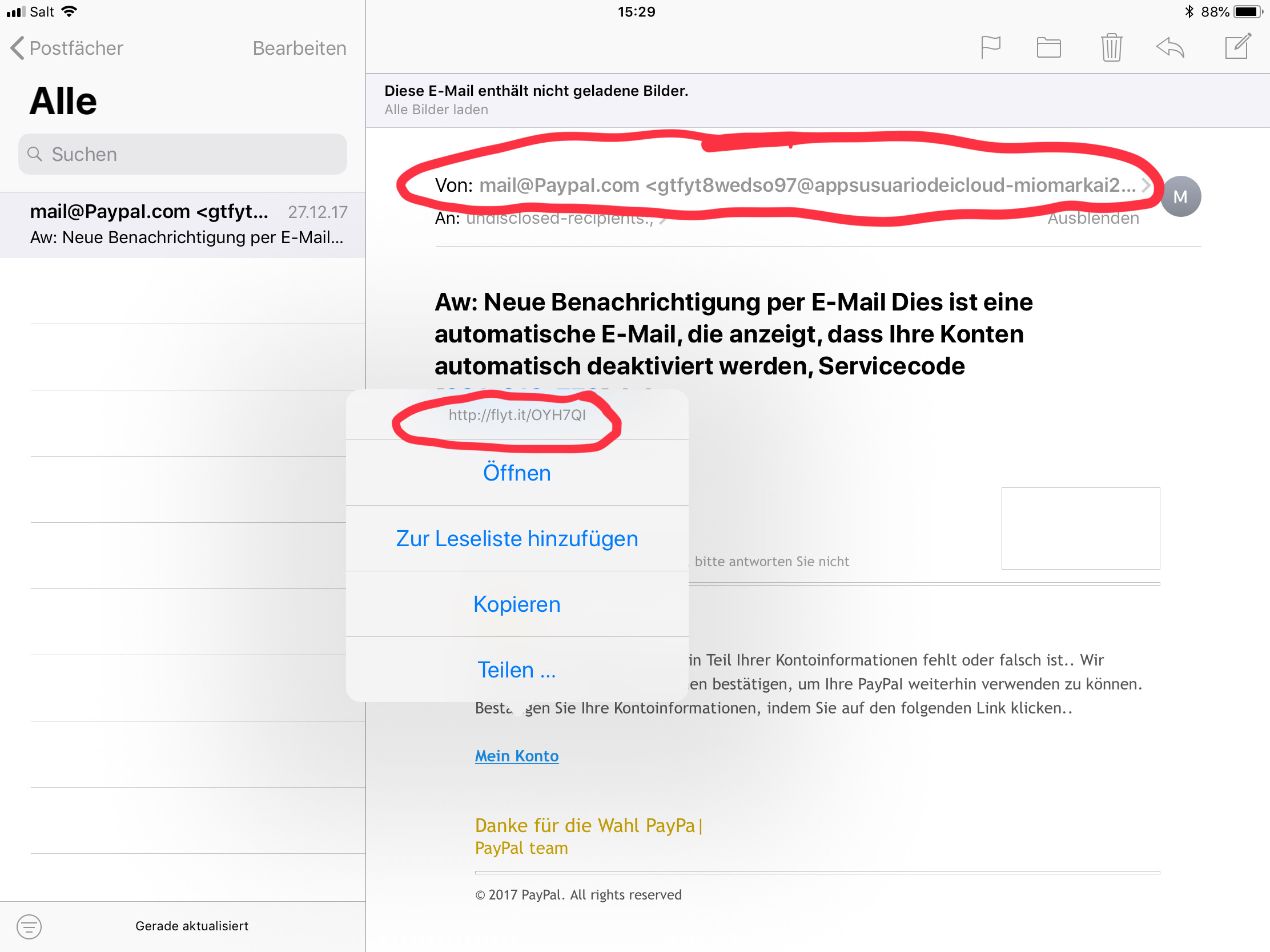 Phishing Mail Direktlink
