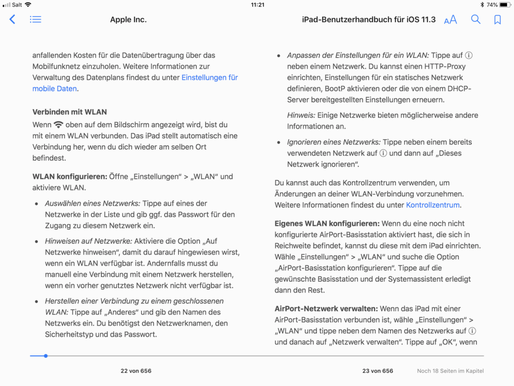 Auszug iPad Handbuch